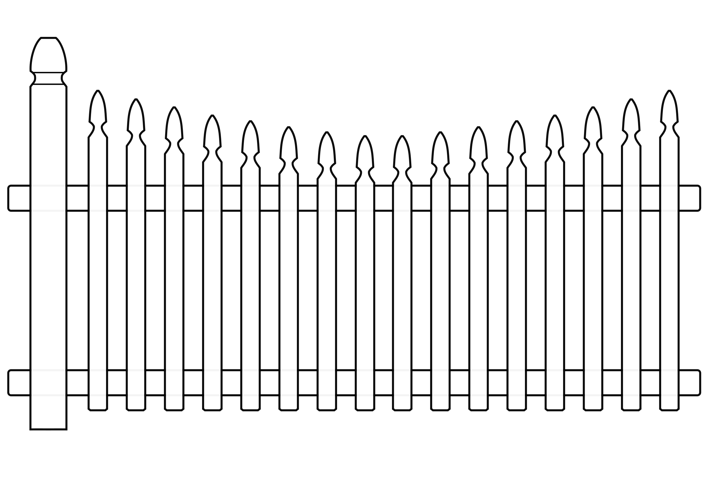 Fence clipart colouring. Black and white