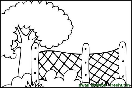 Coloring pages . Fence clipart colouring