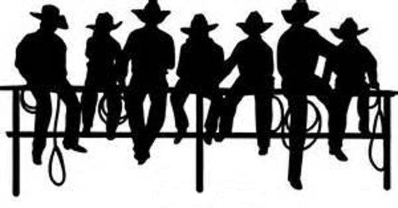 Window decal cowboys on. Fence clipart cowboy fence