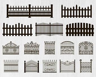 Fence clipart decorative fence. Etsy