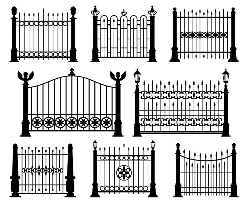 Fence clipart decorative fence. Iron wrought gate silhouette