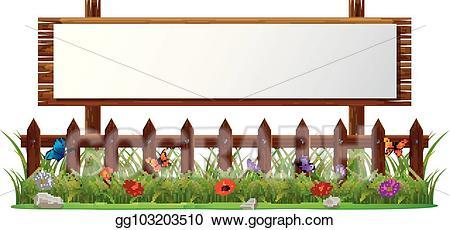 Vector illustration paper blank. Fence clipart empty garden