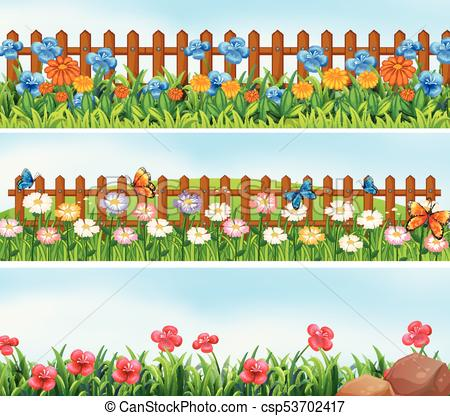 Fence clipart empty garden. Flower with portal