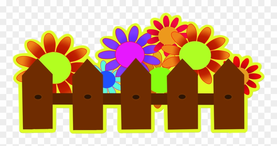 Cartoon stencil garden transprent. Fence clipart flower