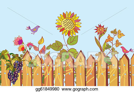 And flowers cartoon border. Fence clipart flower drawing