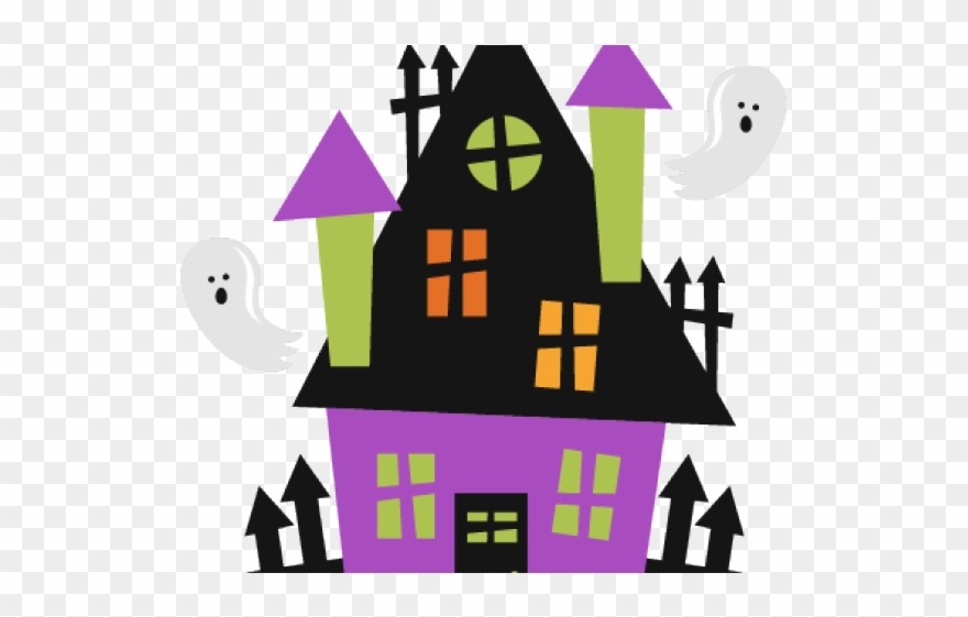 Cute halloween png . Fence clipart haunted house