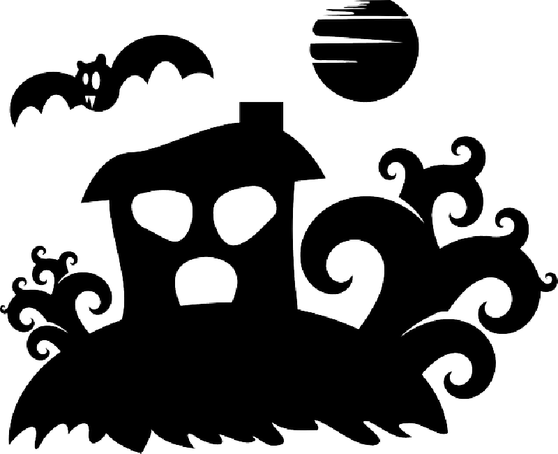 Fence clipart haunted house. Free pictures silhouette images
