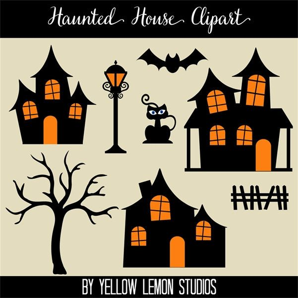 Fence clipart haunted house. Halloween black orange