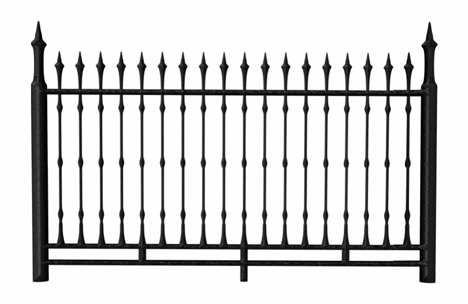 Fence clipart iron fence. Transparent black png wrought
