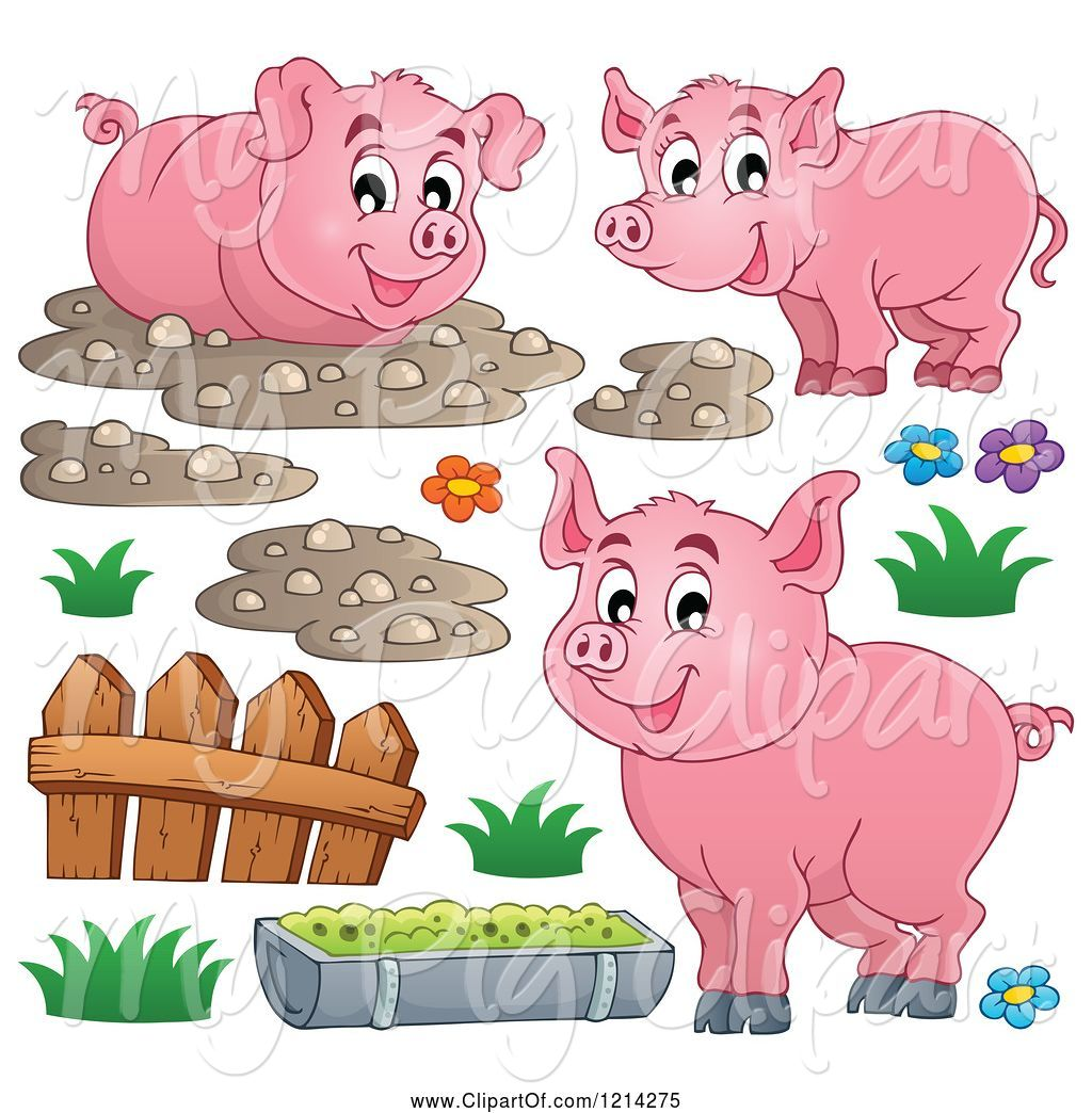 Swine of happy pigs. Pig clipart fence
