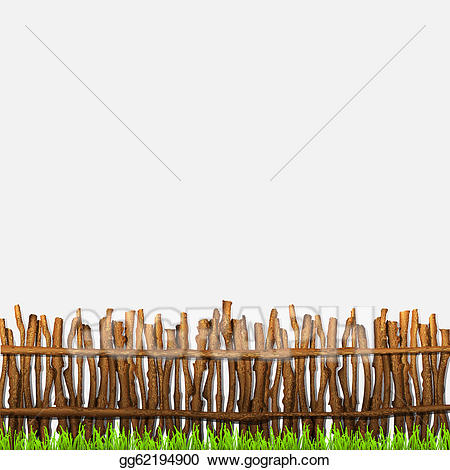 Fence clipart rustic fence. Vector with grass