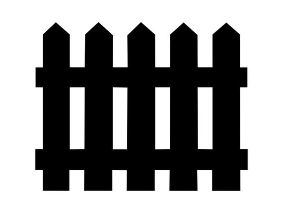 Svg picket cut file. Fence clipart silhouette