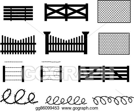 Vector set of rural. Fence clipart silhouette