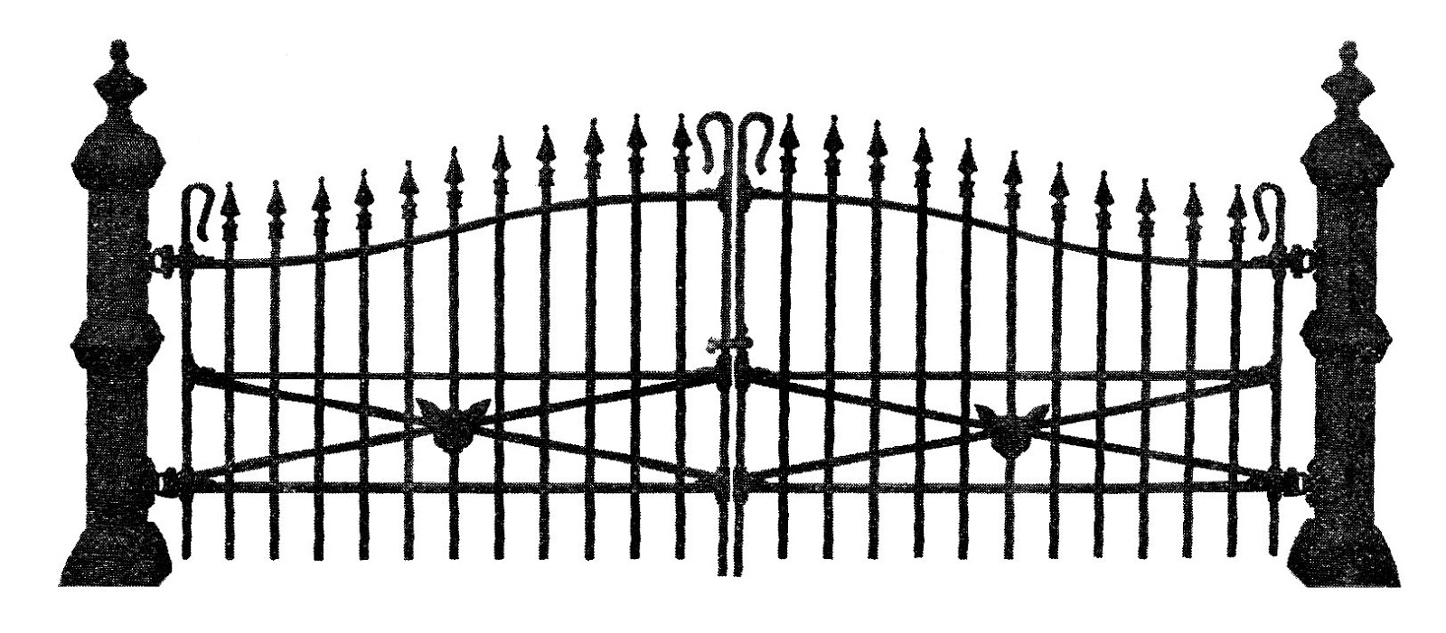 Free scary vintage halloween. Fence clipart spooky