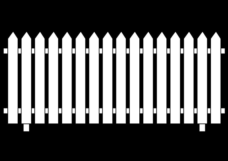 White picket medium image. Fence clipart svg