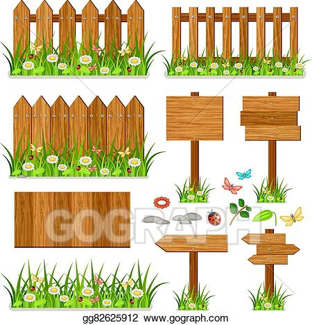 Eps illustration wooden fence. Gate clipart plant grass