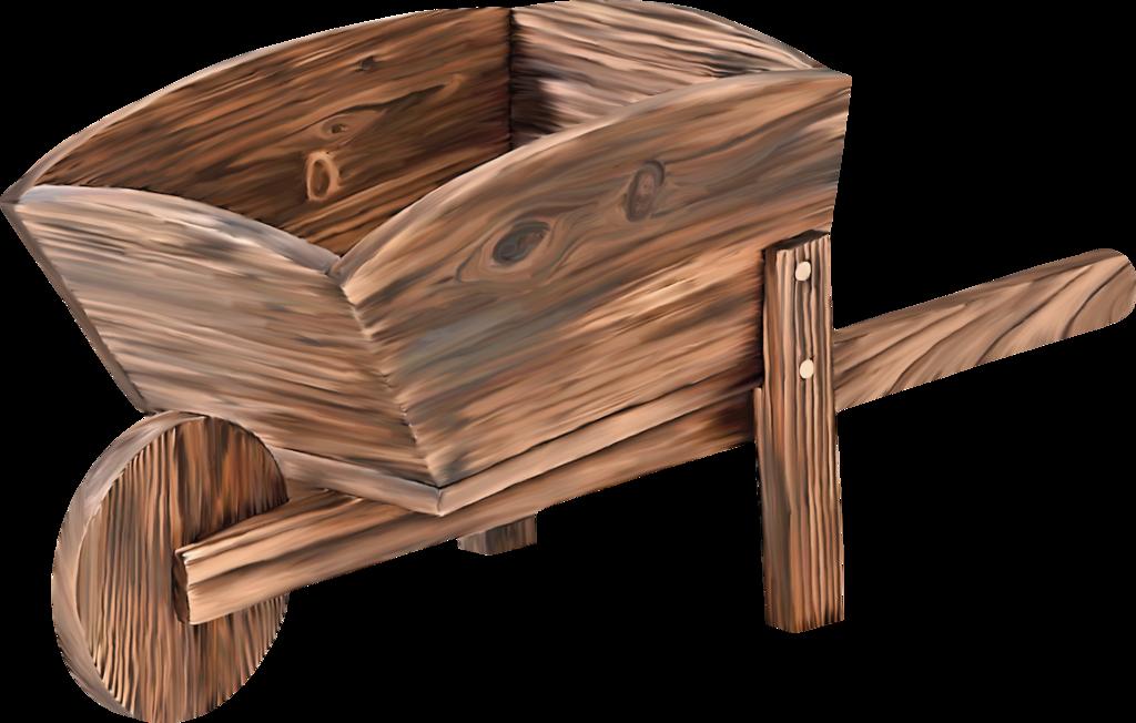 Gardening wooden wheelbarrow