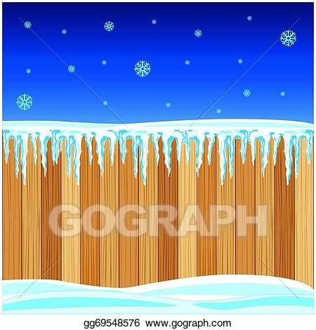 Fence clipart winter. Vector wooden in illustration