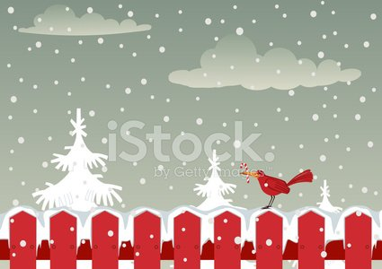 Fence clipart winter. Red bird and in