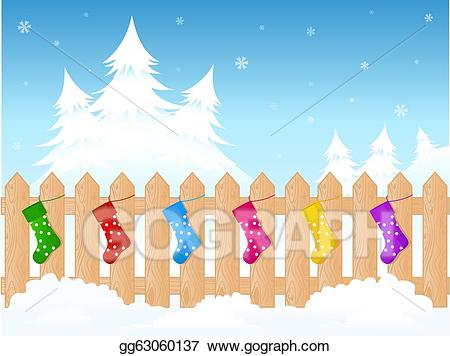Vector christmas illustration . Fence clipart winter