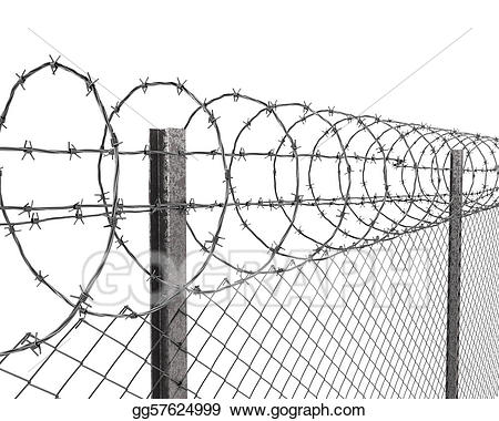 Fence clipart wired fence. Chainlink with barbed wire