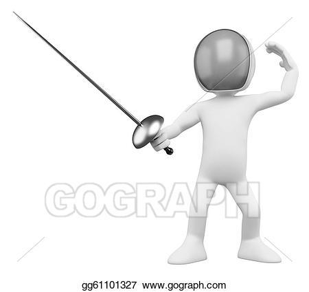 Fencing clipart. Stock illustration d fencer