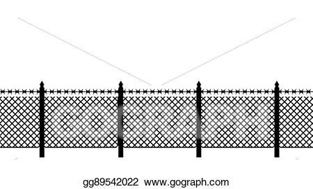 Fencing clipart boundary. Eps vector fence with