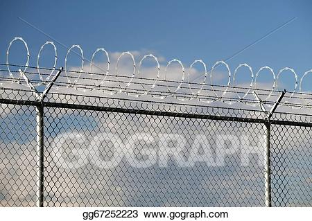 Stock illustration barbwire danger. Fencing clipart boundary
