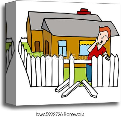 Fencing clipart broken fence. Canvas print