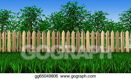 Drawing trees and on. Fencing clipart fence field