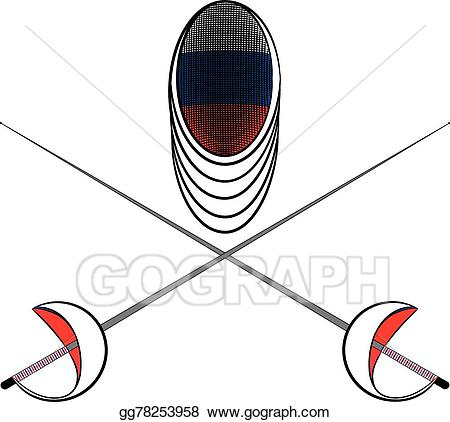 Fencing clipart fencing equipment. Eps illustration team russia