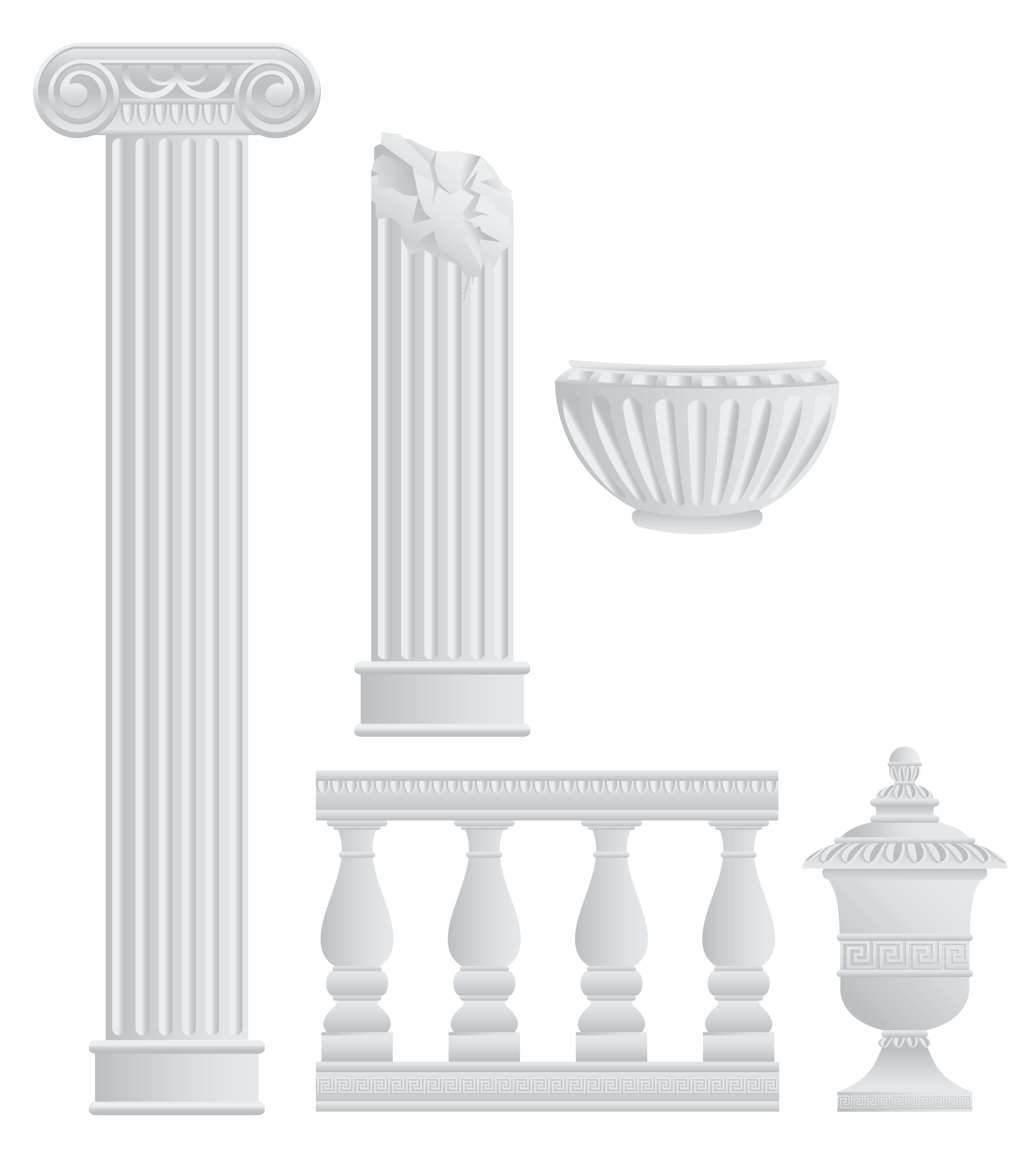 Greek columns and elements. Fencing clipart painting fence