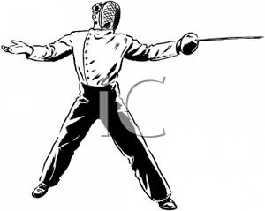 A black and white. Fencing clipart person