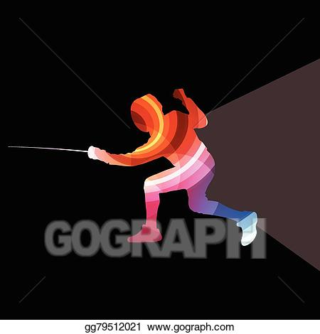 Fencing clipart practice. Vector illustration man silhouette