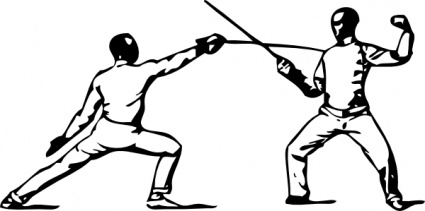Look at clip art. Fencing clipart stance