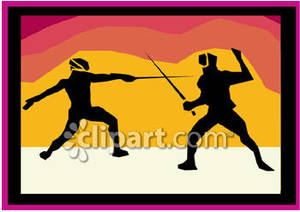 Fencing clipart two. A silhoutte of people