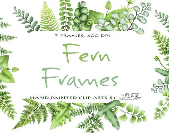 Watercolor greenery frames clip. Fern clipart green fern