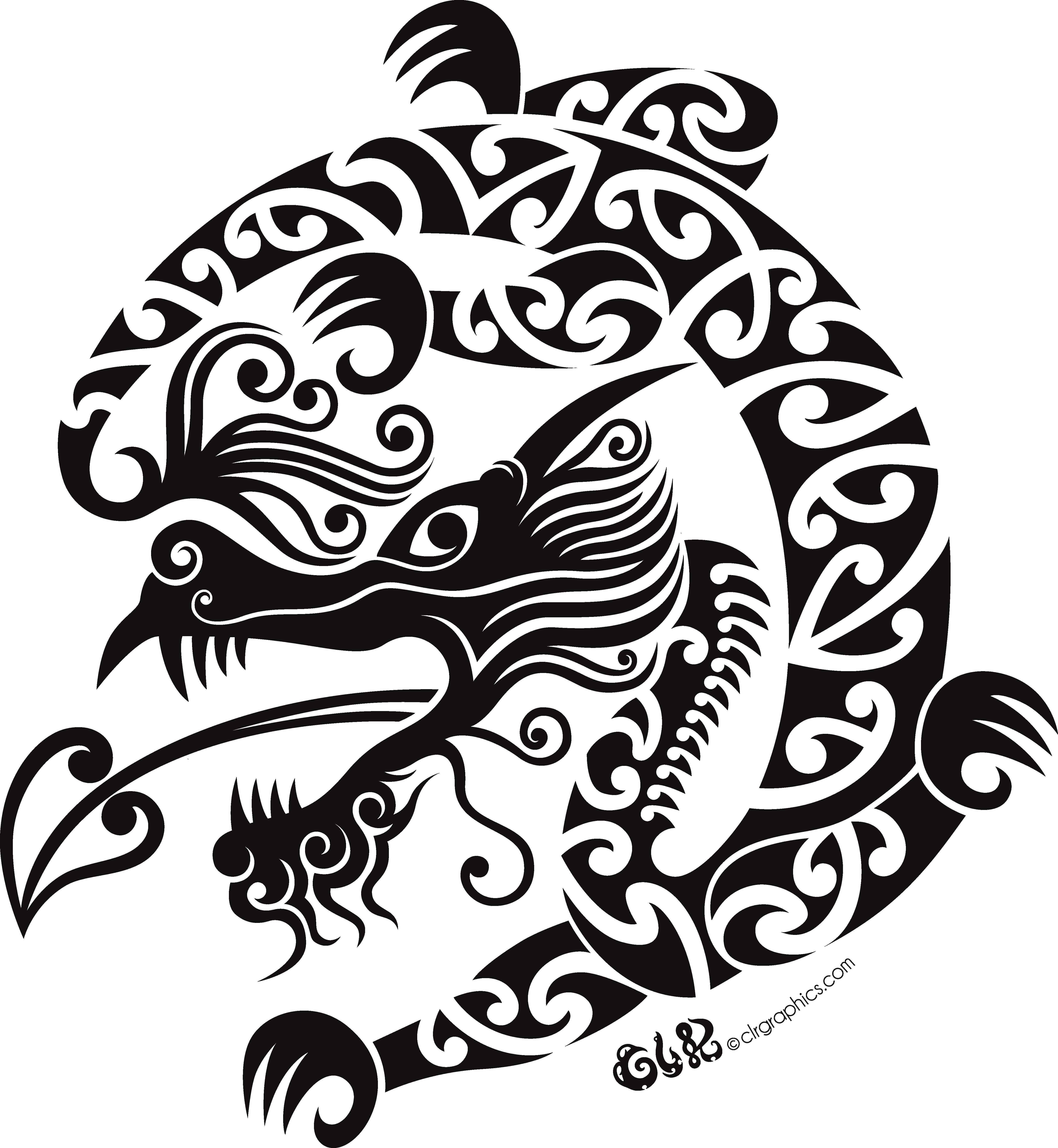 Fern clipart maori. Taniwha dragon unisex t