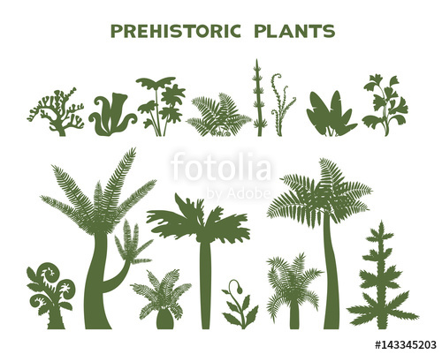 Set of plants stock. Fern clipart prehistoric plant