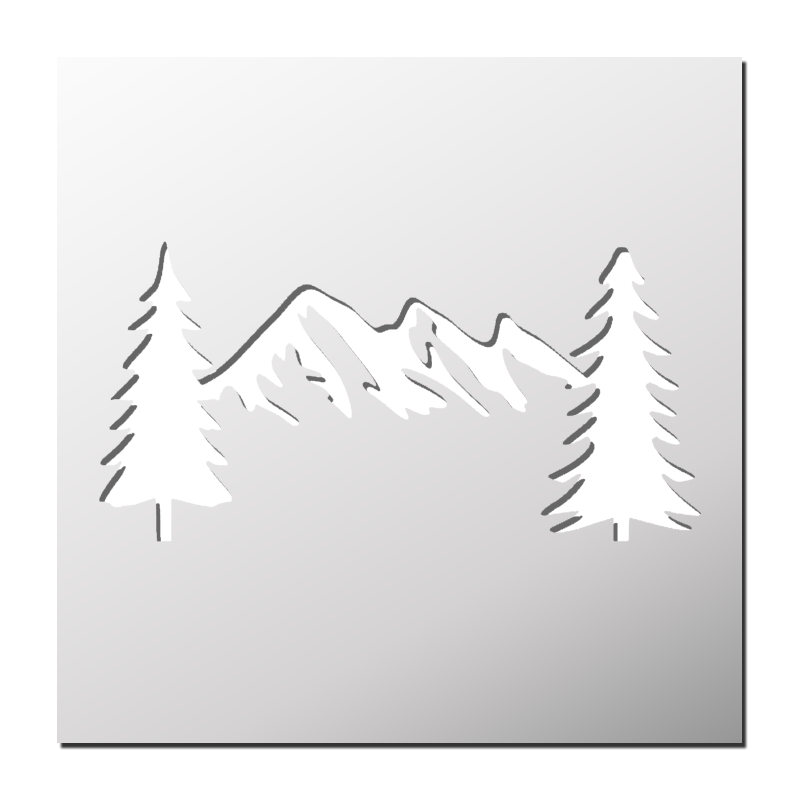 Fern clipart stencil. Pochoir station de ski