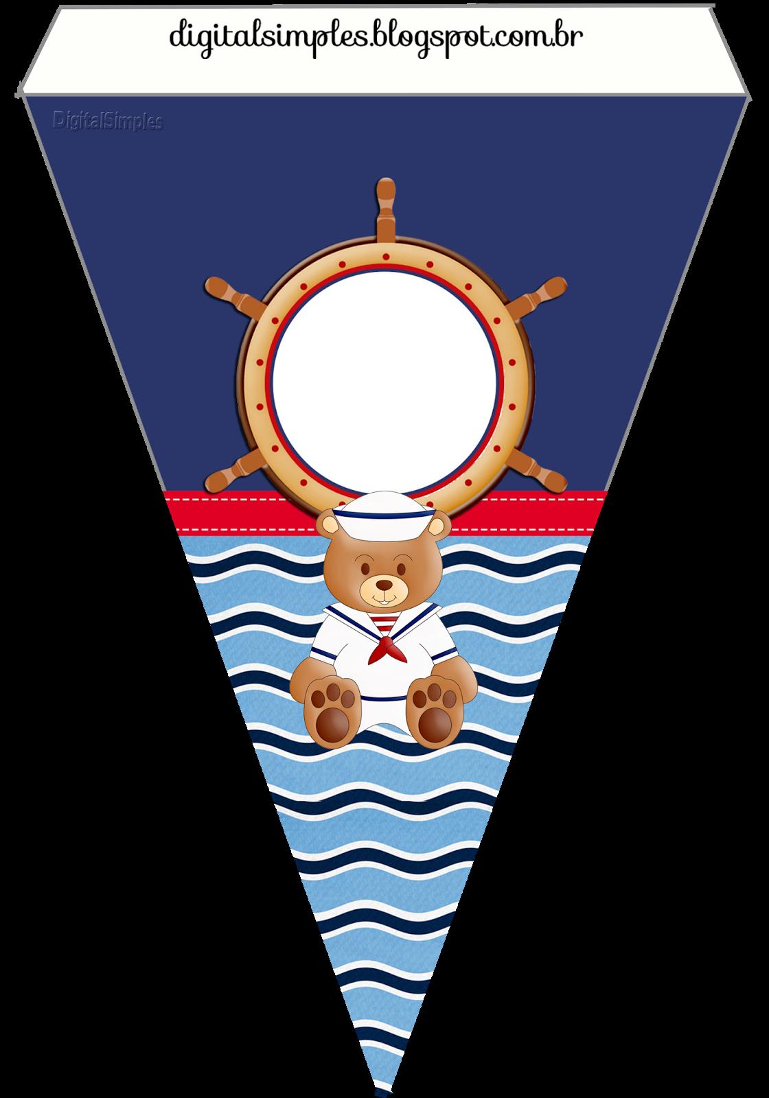 Festival clipart bunting. Kit personalizado ursinho marinheiro