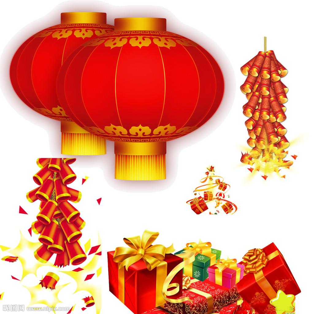 Chinese new year lantern. Firecracker clipart festival