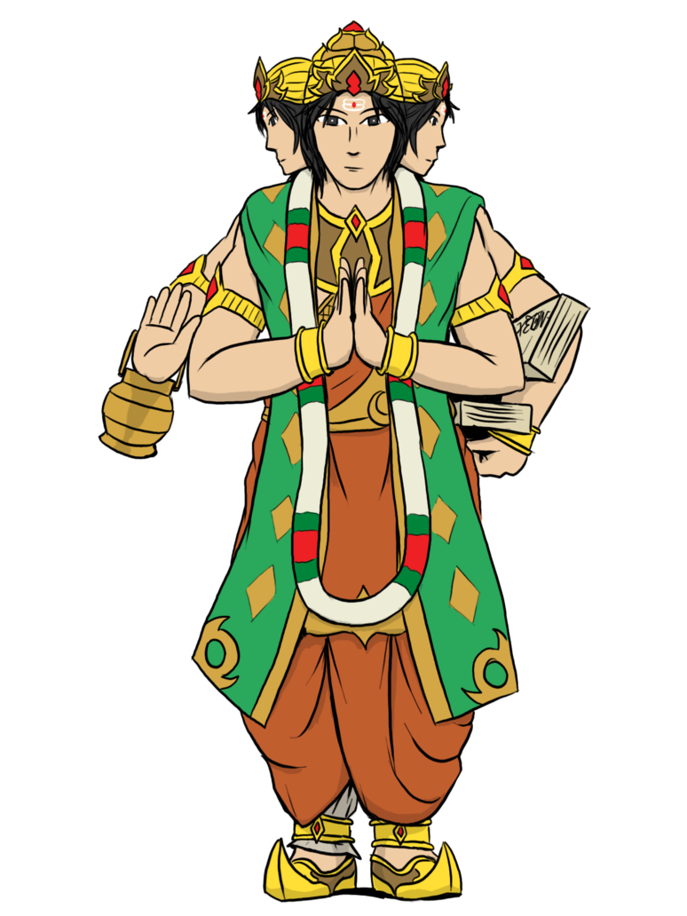 Brahma deva by vachalenxeon. India clipart village