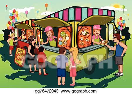 Vector food truck illustration. Festival clipart people