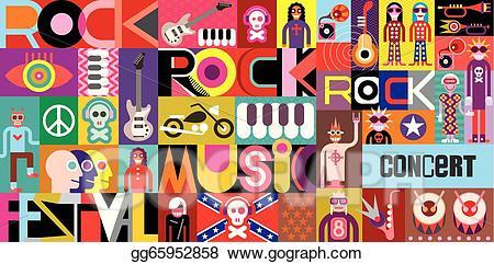 Eps vector rock poster. Festival clipart pop concert