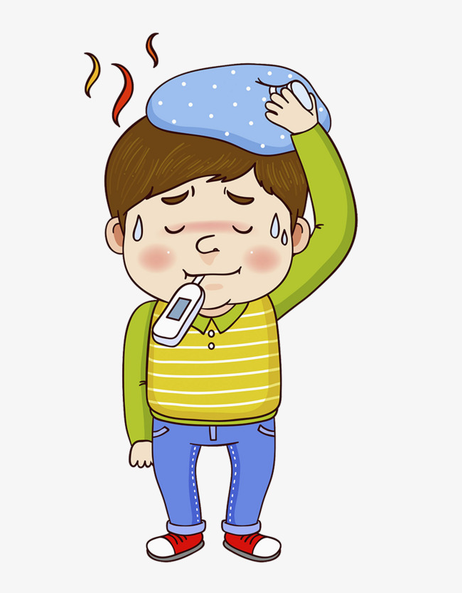 Sick physical cooling baby. Fever clipart
