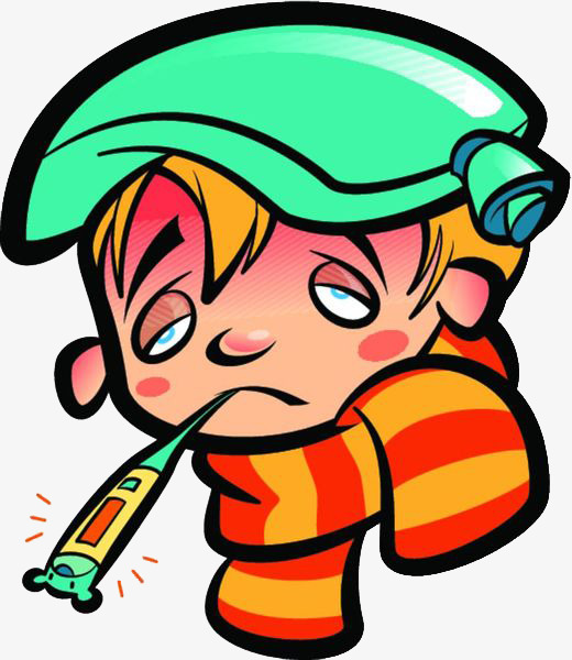 Cartoon sick baby with. Fever clipart