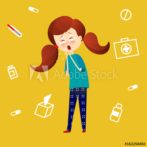 Flu clipart childhood illness. Sick child with fever