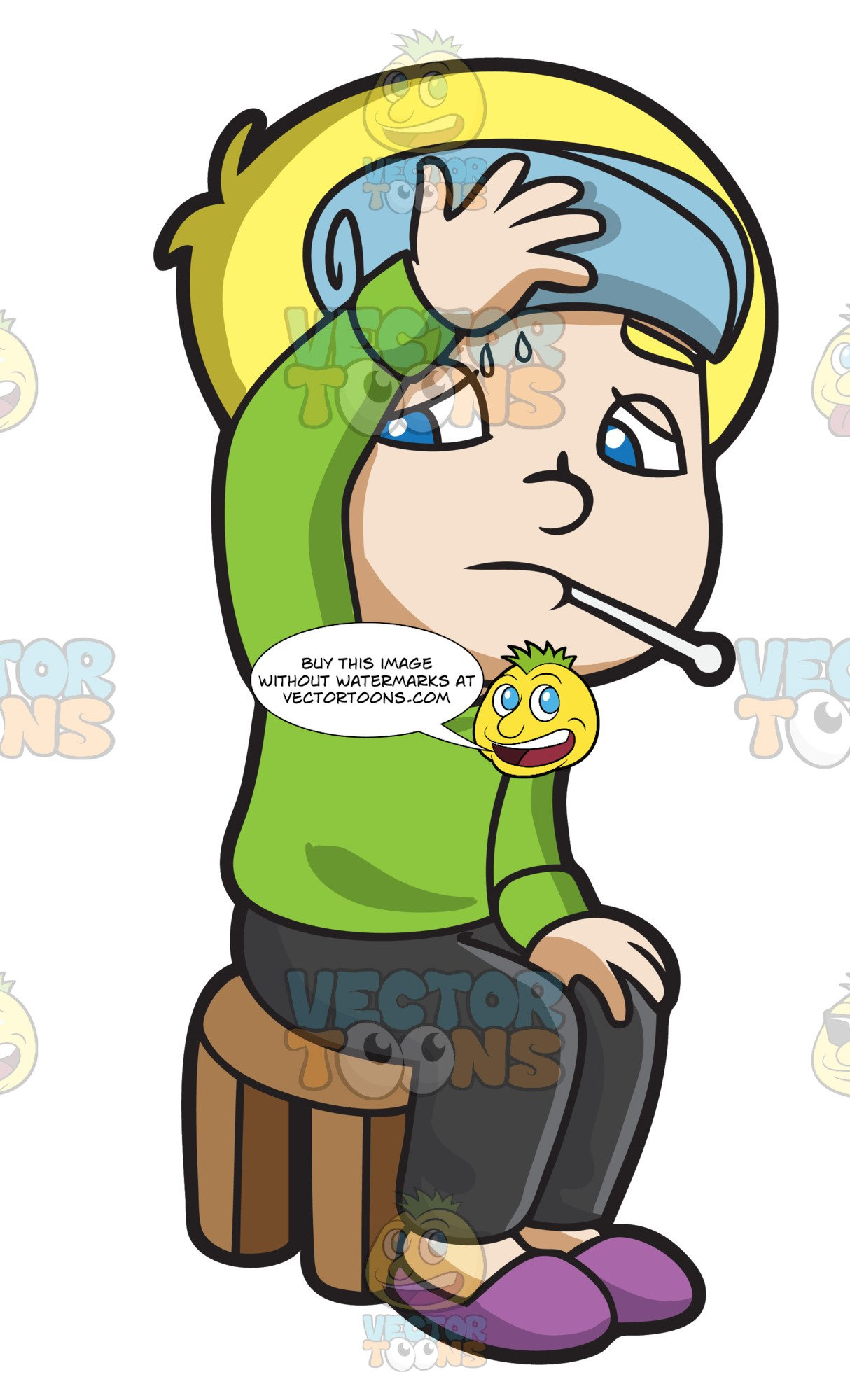 Fever clipart mouth thermometer. A boy checking if