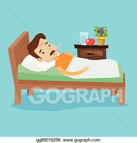 Vector art man with. Sick clipart bed clipart